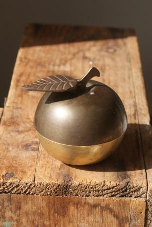 Brass Apple. Mid Century Decor. Little Fruit. Storage Container. Office Space.