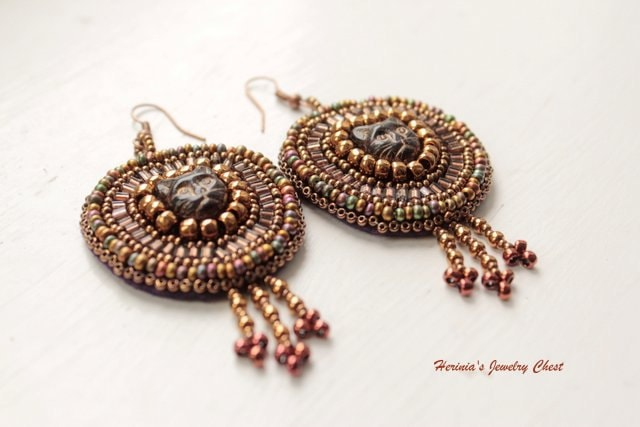 Bastet - Ancient Goddess, Bead Embroidered Earrings, Cat Earrings, Boho Earrings, Tribal Earrings, Brown Earrings, Dangle Beaded Earrings - Herinia