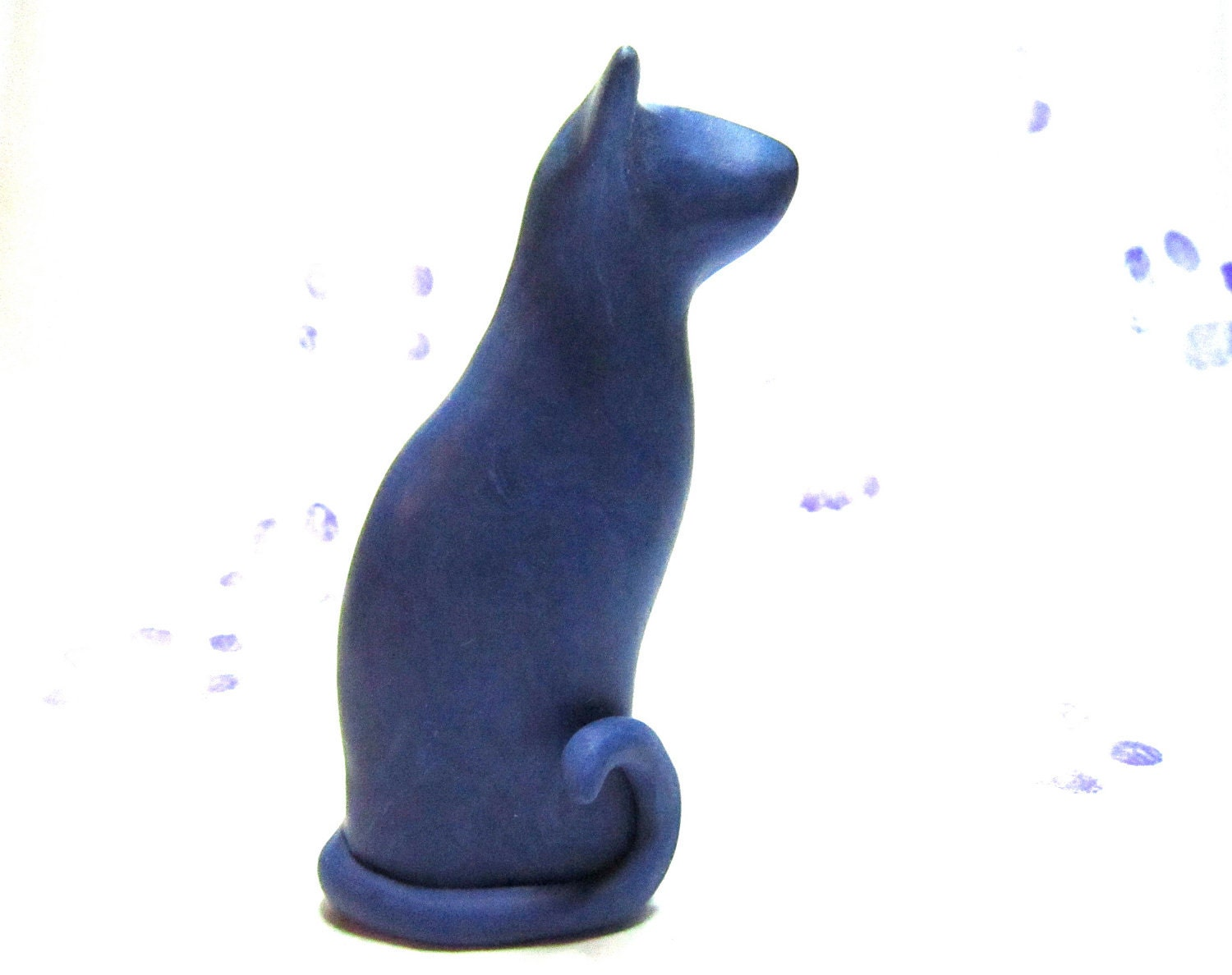Meezer little siamese oriental blue cat sculpture decoration hand made OOAK