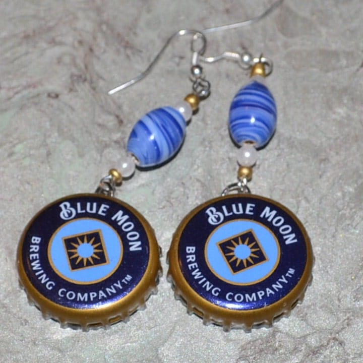 Handmade Blue Moon Beer Cap earrings accented with pearls and glass beads