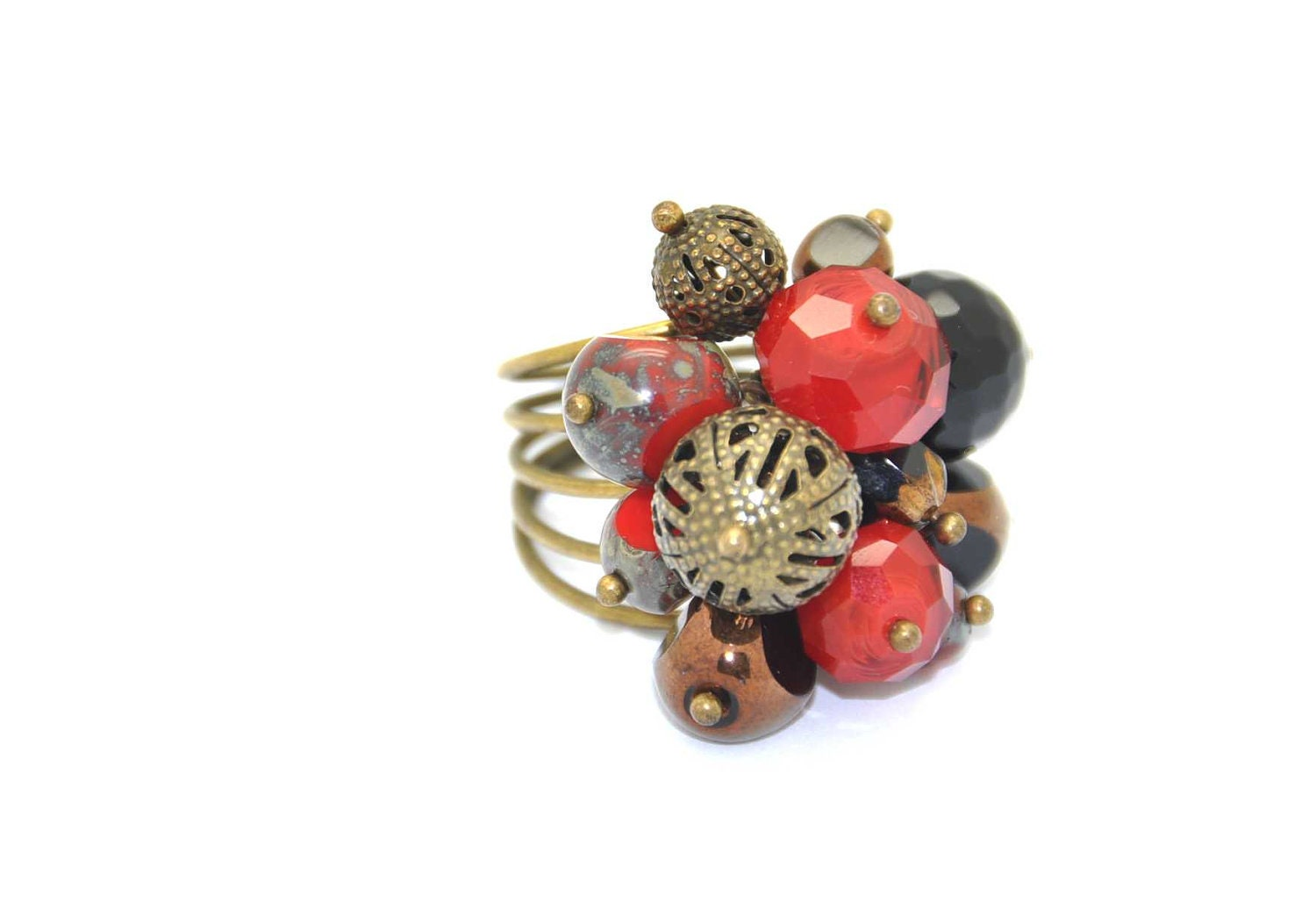 Beautiful dangle ring made with Red and black faceted czech Picasso crystal beads, red,  black crystals and antique brass filigree beads - BBTAR