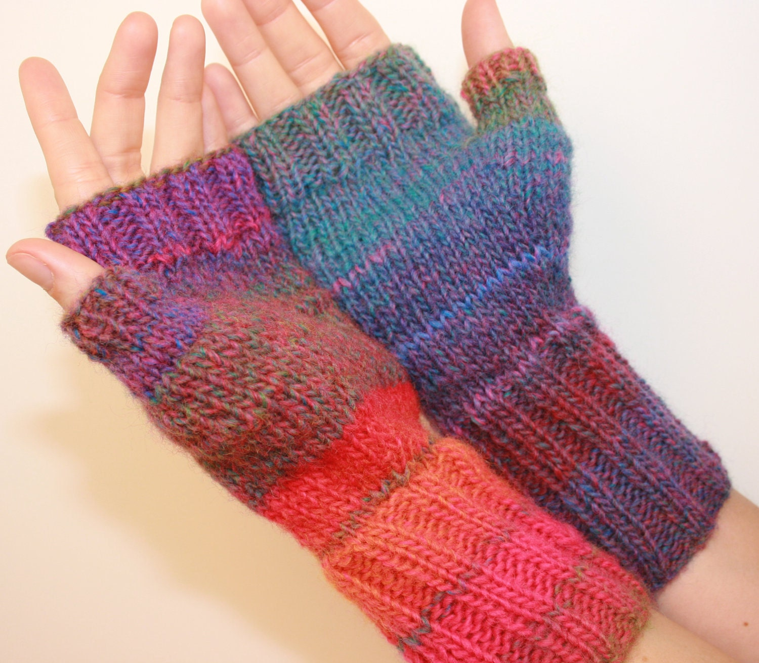 Fingerless Mittens with Thumb, Hand-knit, Women's Medium, I Love the 80s