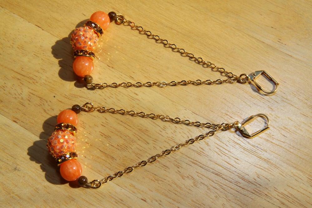 """4"""" 1/4 L Orange, brown jade stones, Orange rhinestones, triangular, dangle, earrings, Pumpkins"""