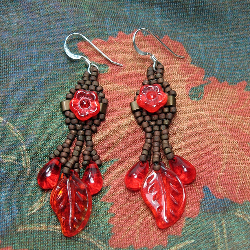 Red and Brown Autumn Earrings - jess2bead
