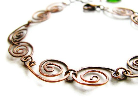 Copper Coil Bracelet with Czech Glass Leaf Hand Forged - heversonart