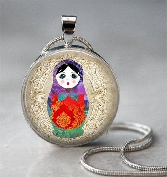 Russian Doll Art Pendant - Glass Dome Pendant Charm  (PWS01)