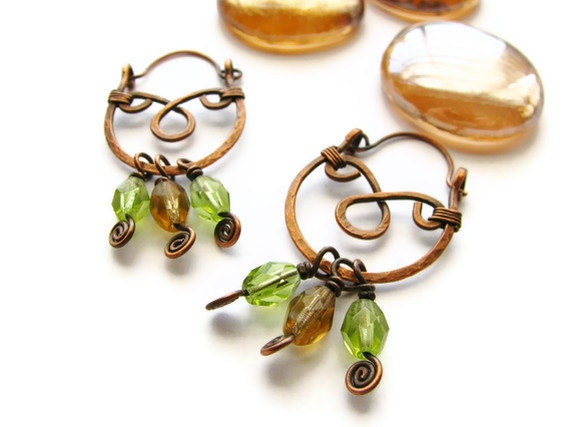 Gypsy Hoop Earrings With Hammered Copper and Olive and Brown Czech Glass Beads - heversonart