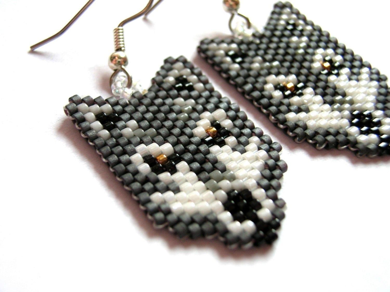 Beautiful Grey Wolf Seed Beaded Dangle Earrings