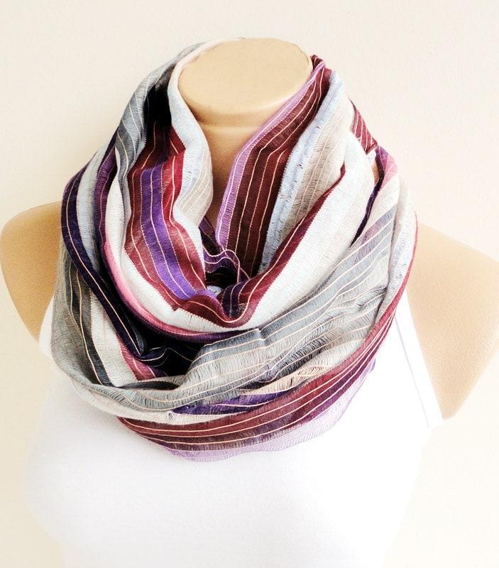 Cream Gray Purple Stripe Scarf,Bandana,Headband,Elegant 2013 fashion - ScarfLovers