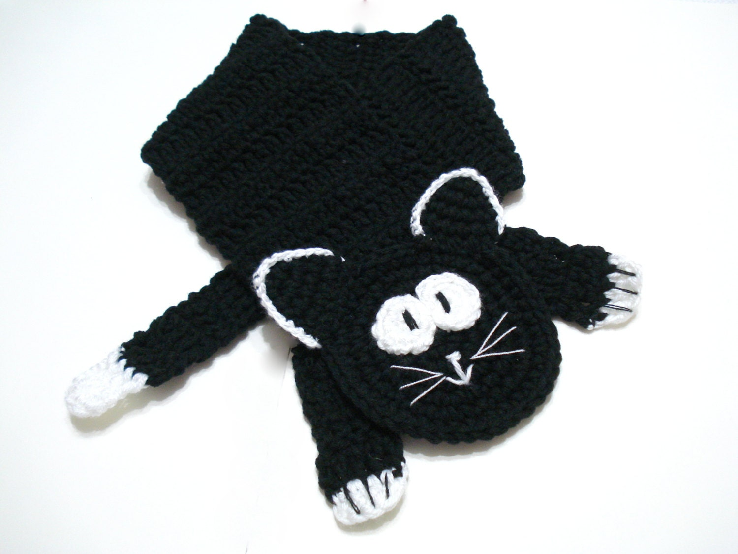 Cat Scarf Cowl, Crochet Cat Scarf, 2013 trends, Cat Neckwarmer, Kitty Scarf - AllSoCute