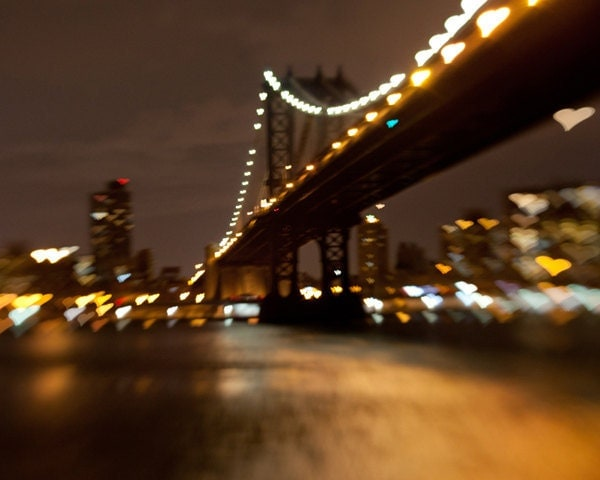 Manhattan Bridge photo, New York photo, Brooklyn photo, heart bokeh effect - 8x10 fine art photograph - pixamatic