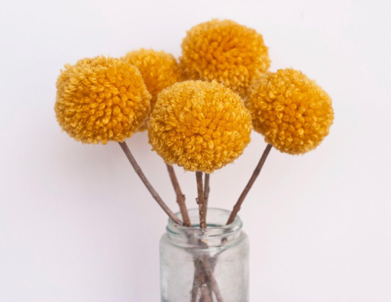 Yarn Pom Pom Flowers-Mustard (5 flowers) - stephlovesben