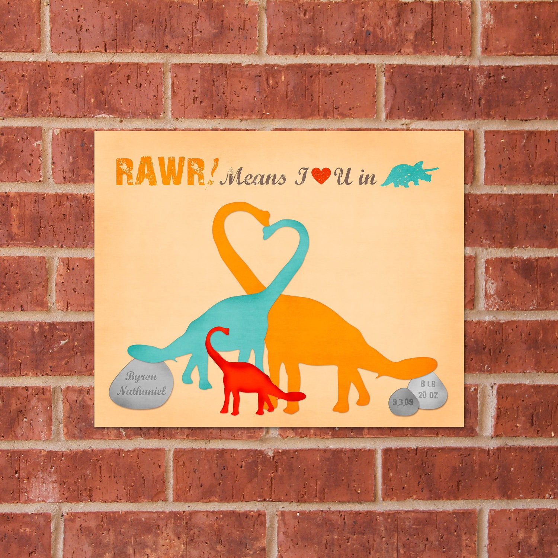 Dinosaur Print - 8x10 - Custom Baby Keepsake