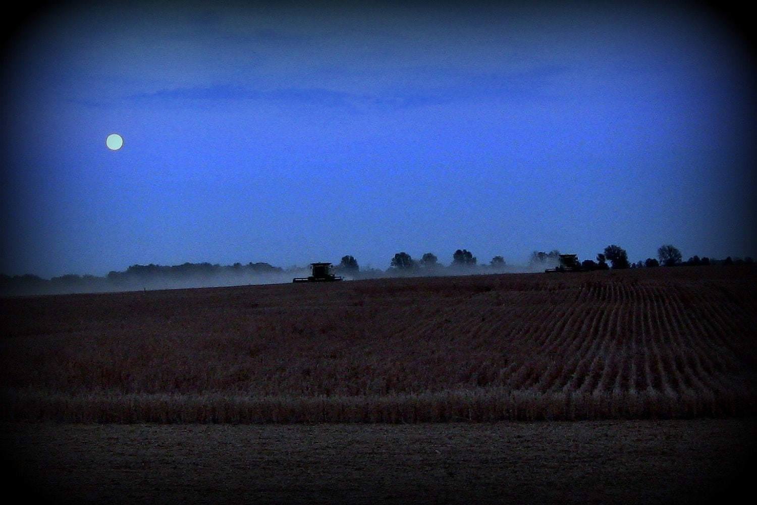 Moonlight Harvest - 8 x 12 Fine Art Photography - Night Dark Farm Machinery Combine Field, Modern Rustic Decor - FREE SHIPPING - Tagt Team