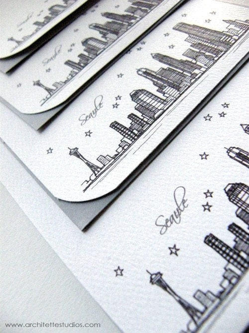 Seattle, Washington - United States - City Skyline Series - Notecards (8) - ArchitetteStudios