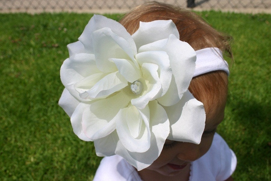 Large White Rose with Rhinestone Center Hair Clip - Free Shipping within the U.S. and will ship fast