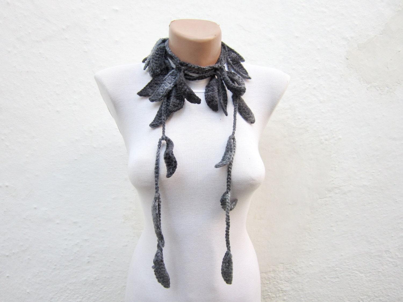 Grey Black Handmade crochet Lariat Scarf   Variegated Long Necklace Scarf  winter fashion - nurlu