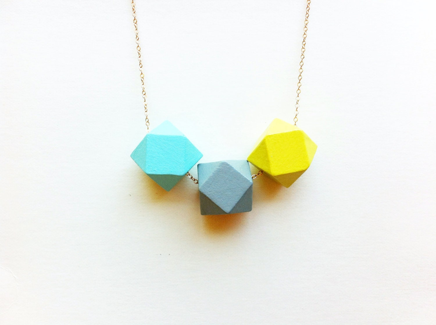 Neon Faceted Wood Necklace in Aqua, Gray and Yellow / Minimalist Bright Jewelry / Color Block - FableAndLore