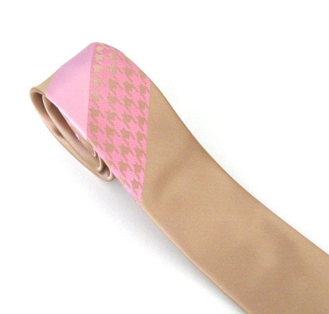 Necktie Tan and Pink Mens Skinny Silk Tie