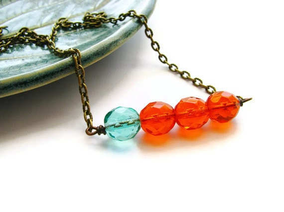 Teal and Tangerine Bar Necklace in Antique Brass with Czech Glass Fire-Polished Beads - heversonart