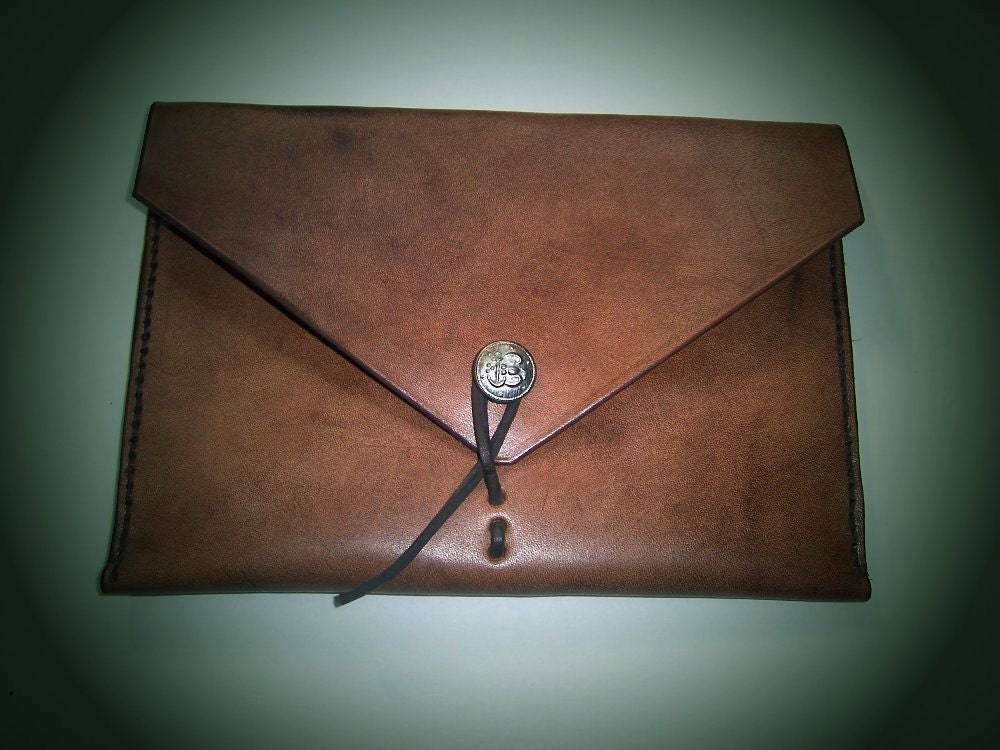 IPAD mini Leather Sleeve in Full Grain  Leather with  Vintage Button Closure. Hand Made in the USA .