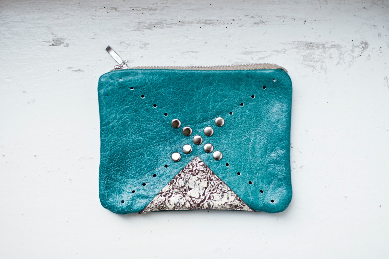 APRIL SALE Nomad Turquoise Leather Coin Purse No. CP-2001 - CORIUMI