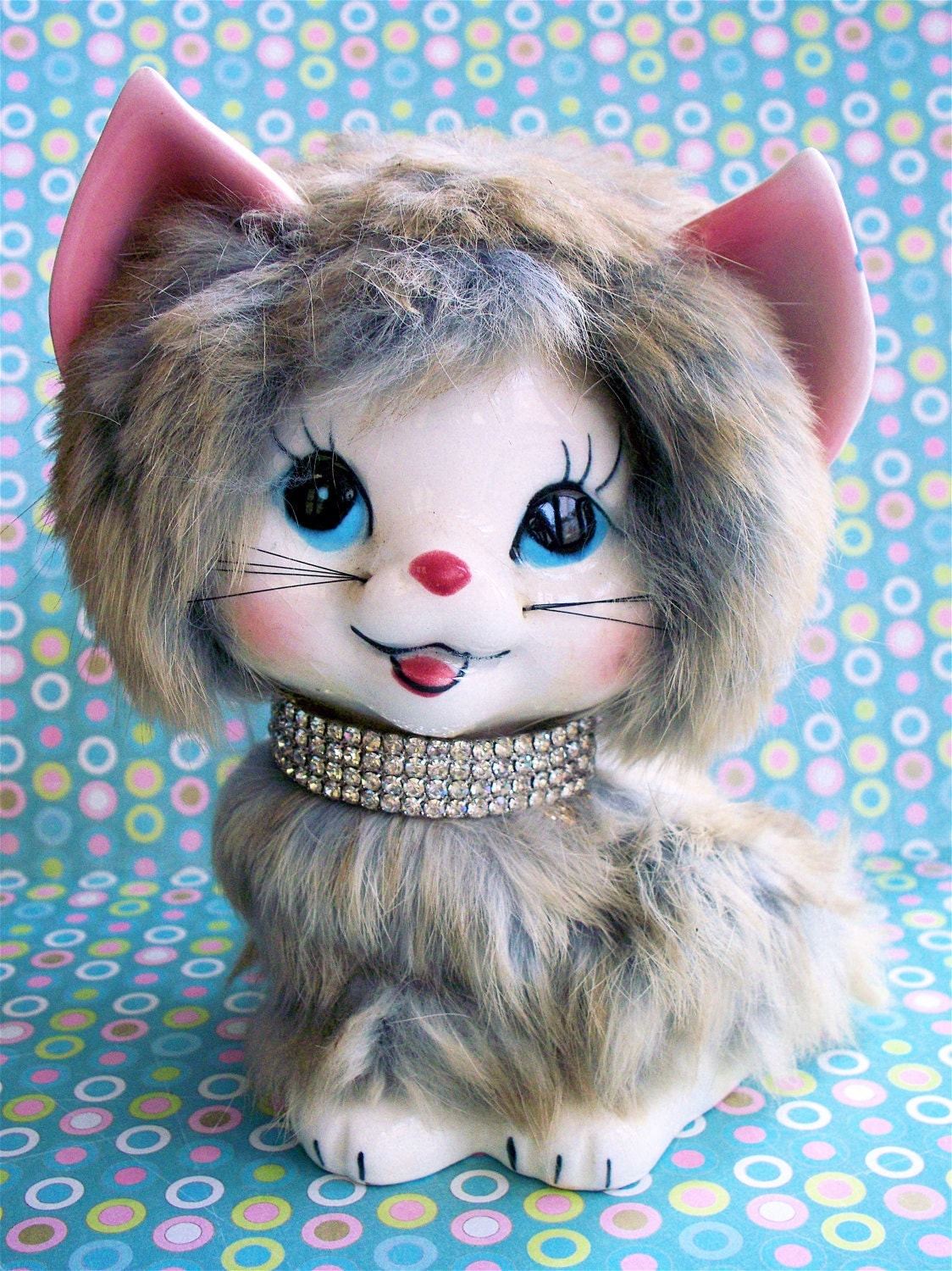 Kitschy  Gitschy Cute Vintage Fluffy Kitty Cat Kitten Furr Covered Ceramic  Figurine with Diamond Collar