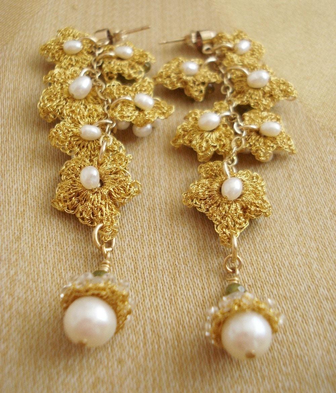 Ivy Vine Long Lace Earrings- Olive Green Vesuvianite, Freshwater Pearls, Vintage Rhinestones, Gold-fill