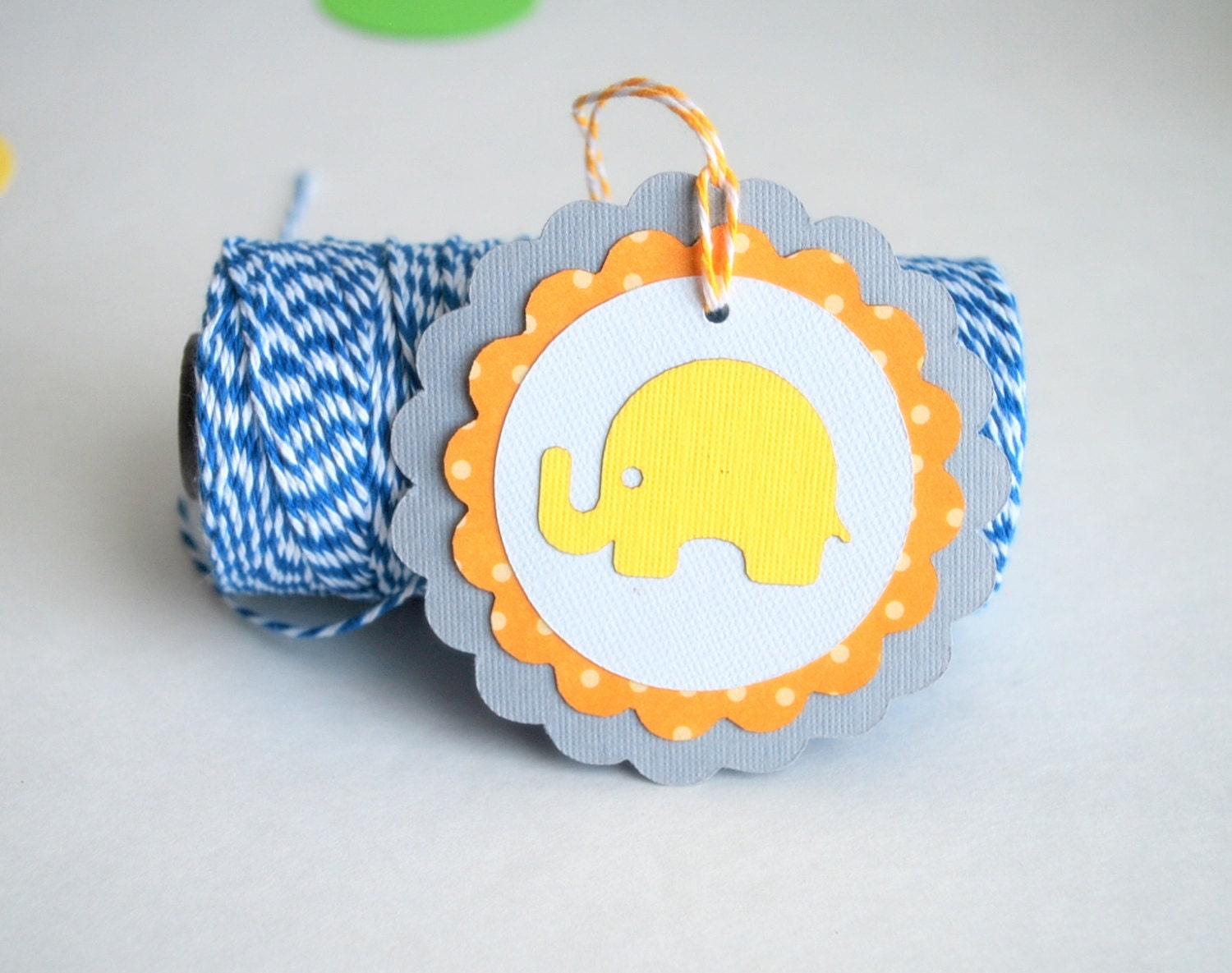ON SALE 4 Baby Elephant Tags, Baby Shower Orange and Grey polka dot Cardstock tags 3.0 INCHES A672