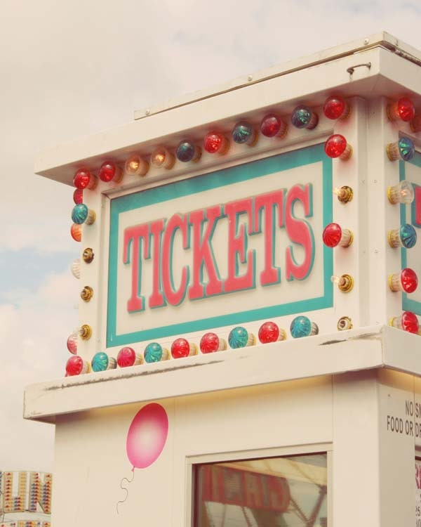 Carnival ticket booth summer pastel 8 x 10 photograph - LittleFotoFox