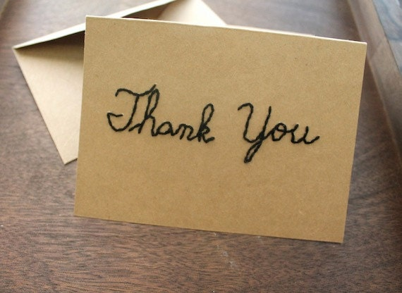 black thank you natural eco Blank Notecard (Kraft 4x6) - TheHoneyShack