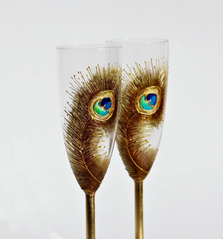 Голди павлиньих перьев Свадебное Toasting шампанское флейты Ручная роспись, комплект из 2