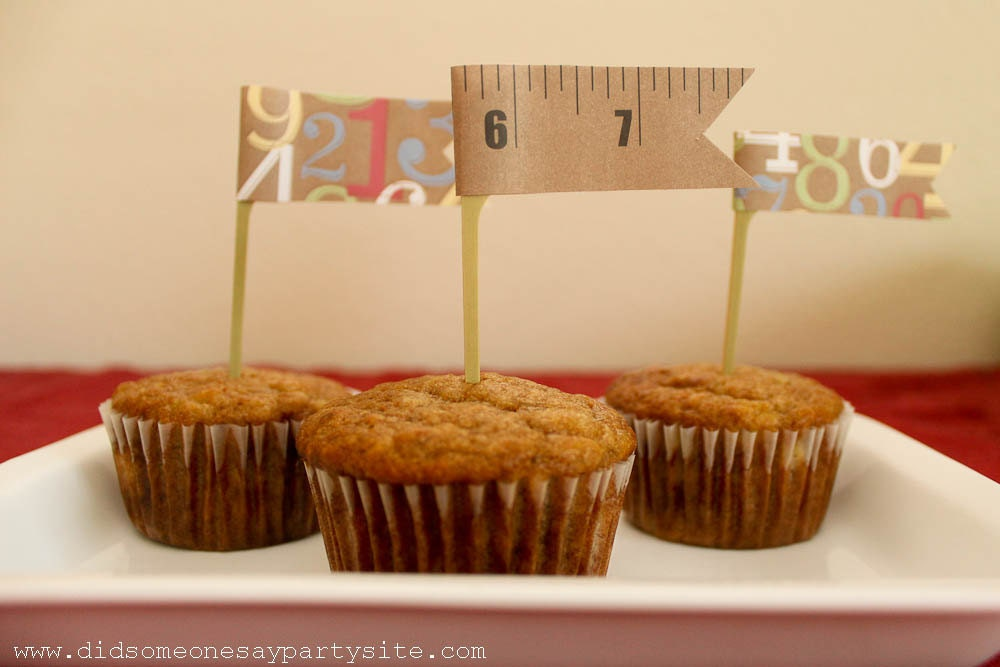 Rulers and Numbers Cupcake Toppers - FREE SHIPPING
