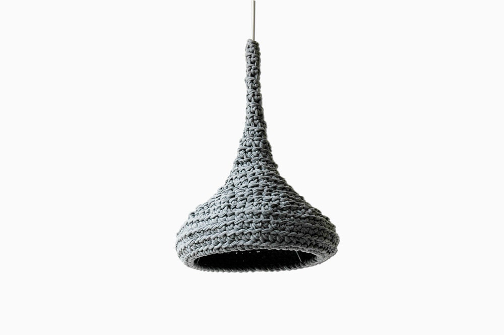 Crochet Pendant Lamp LUUNA / Modern Hanging Light / Unique Eco Lamp from Upcycled Fabric / Green Design / Recycling Art - Gray - buubok