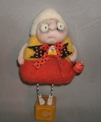 Candy Corn needle felted art doll