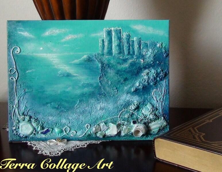 Замок от океана Mixed Media оригинальную художественную