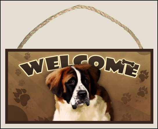 "Saint Bernard 10"" x 5"" Wooden Welcome Sign"