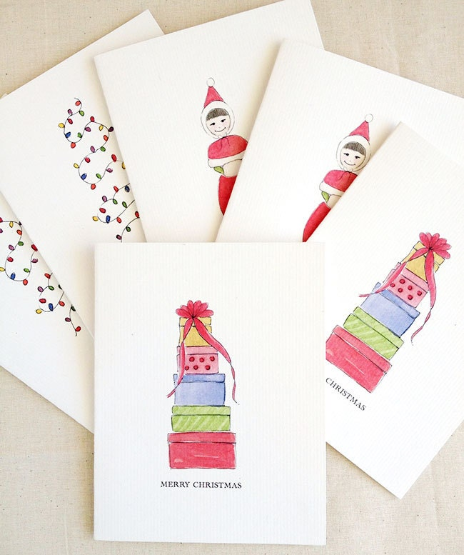 Set of 6 - Mix and Match Blank Christmas Note Cards