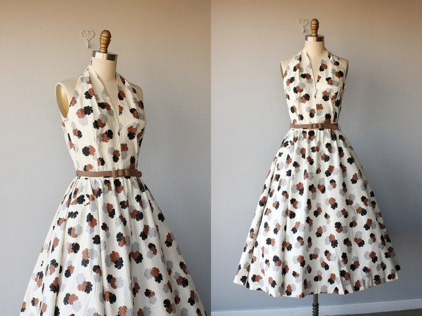 vintage 50s dress / 1950s party dress / 50s sundress / cotton pique halter dress - size small