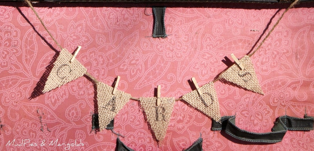 Rustic petite CARDS banner pennant bunting wedding card box shabby chic