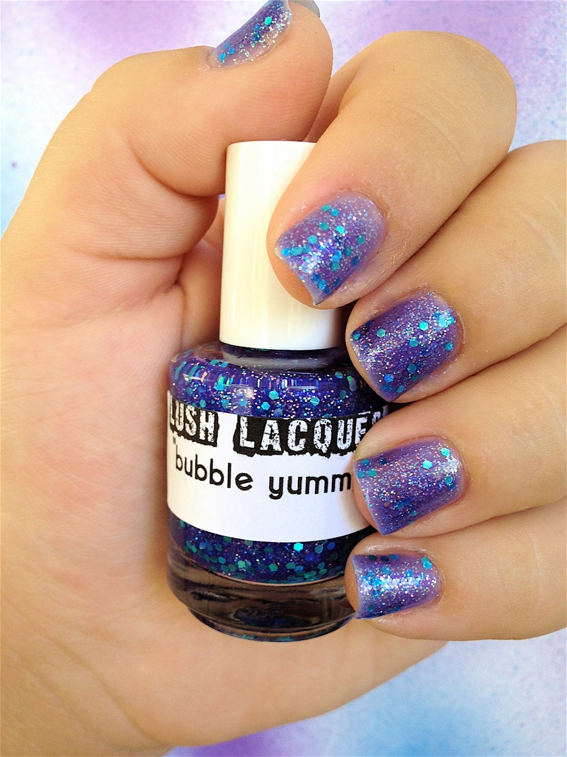 Bubble Yummy :  Custom-Blended Glitter Nail Polish / Lacquer