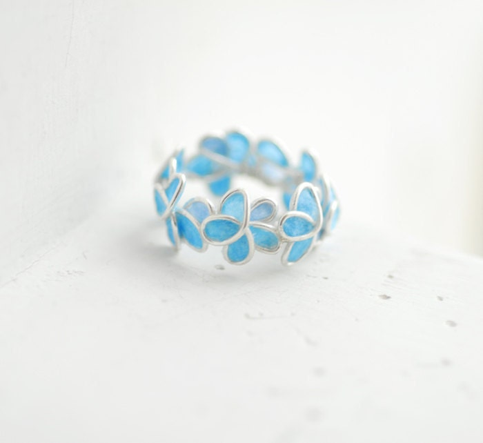 Pale Blue Forget Me Not Ring, Sterling Silver Artisan Paper Jewelry...