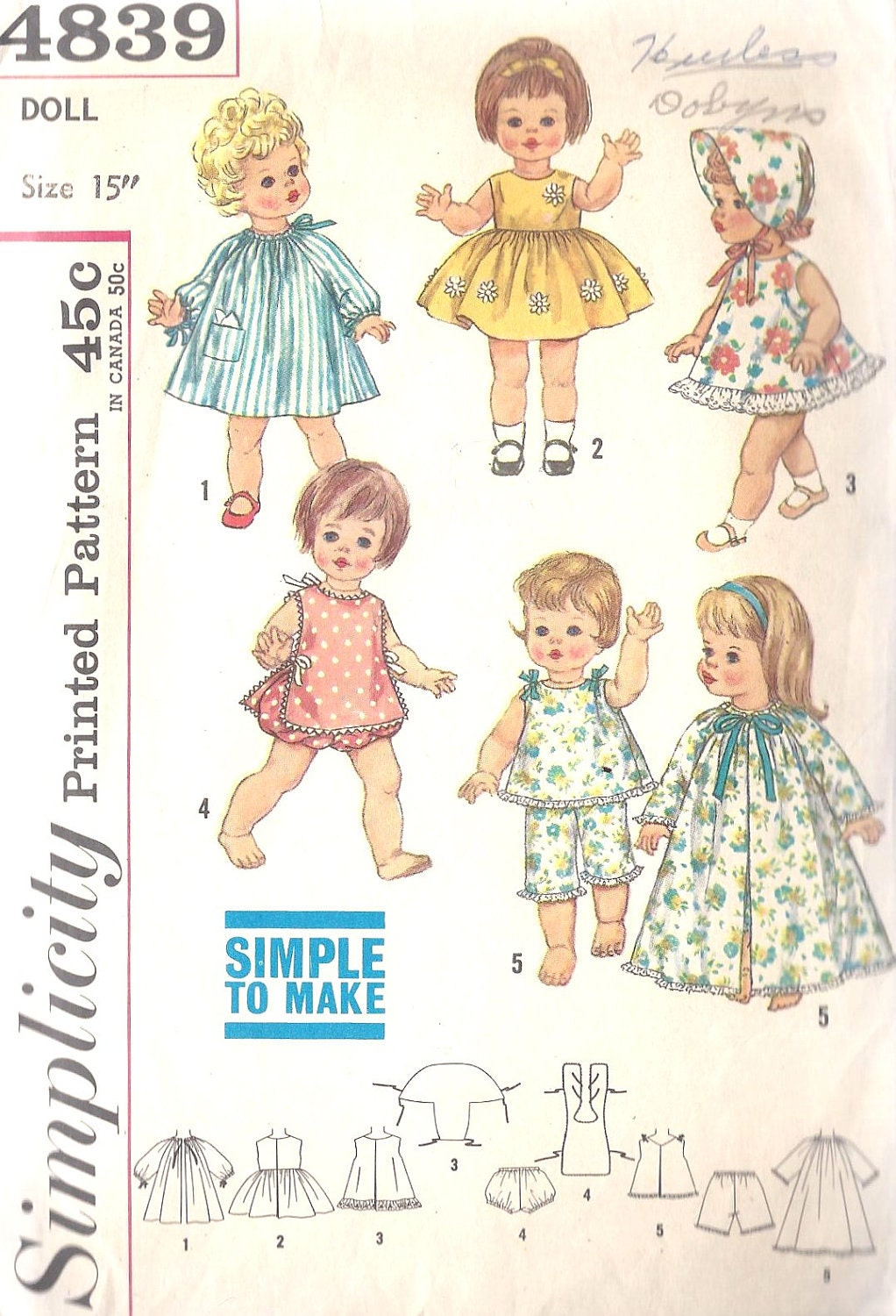 1960s15 inch Doll Tiny Chatty Baby Clothing Wardrobe Vintage Sewing Pattern Simplicity 4839