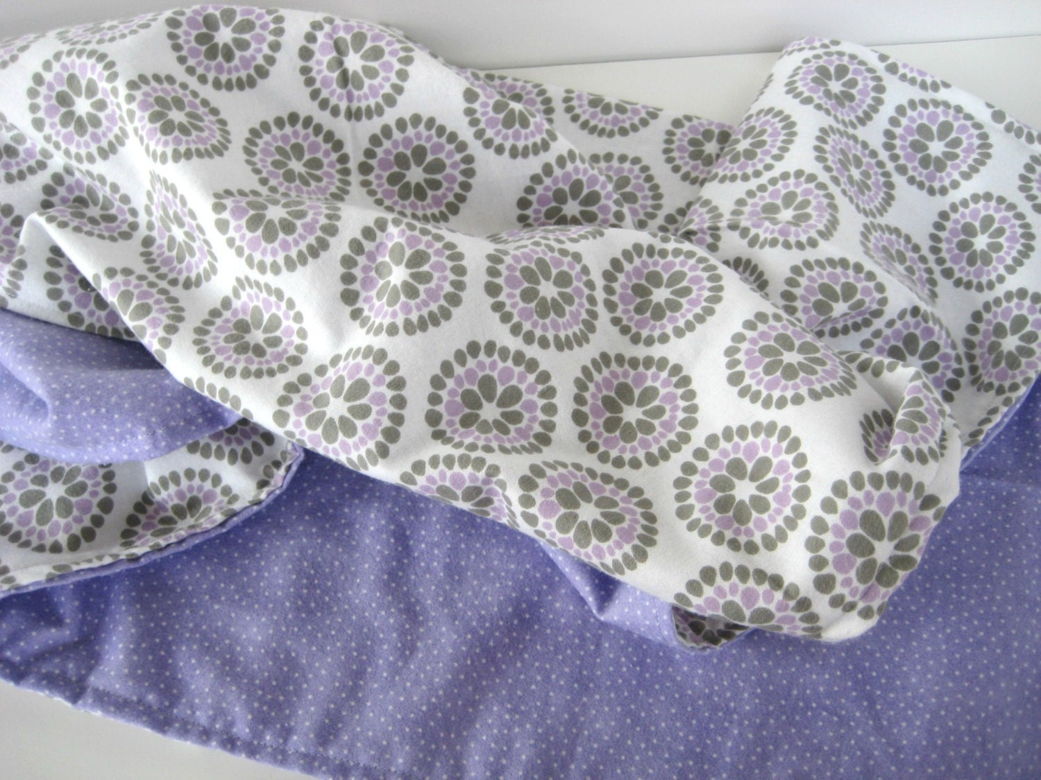 Baby Blanket, Lavender and Gray Baby Blanket, baby gift, Floral Baby Blanket, Purple polka Fleece, Special Opening Price, Sale Price
