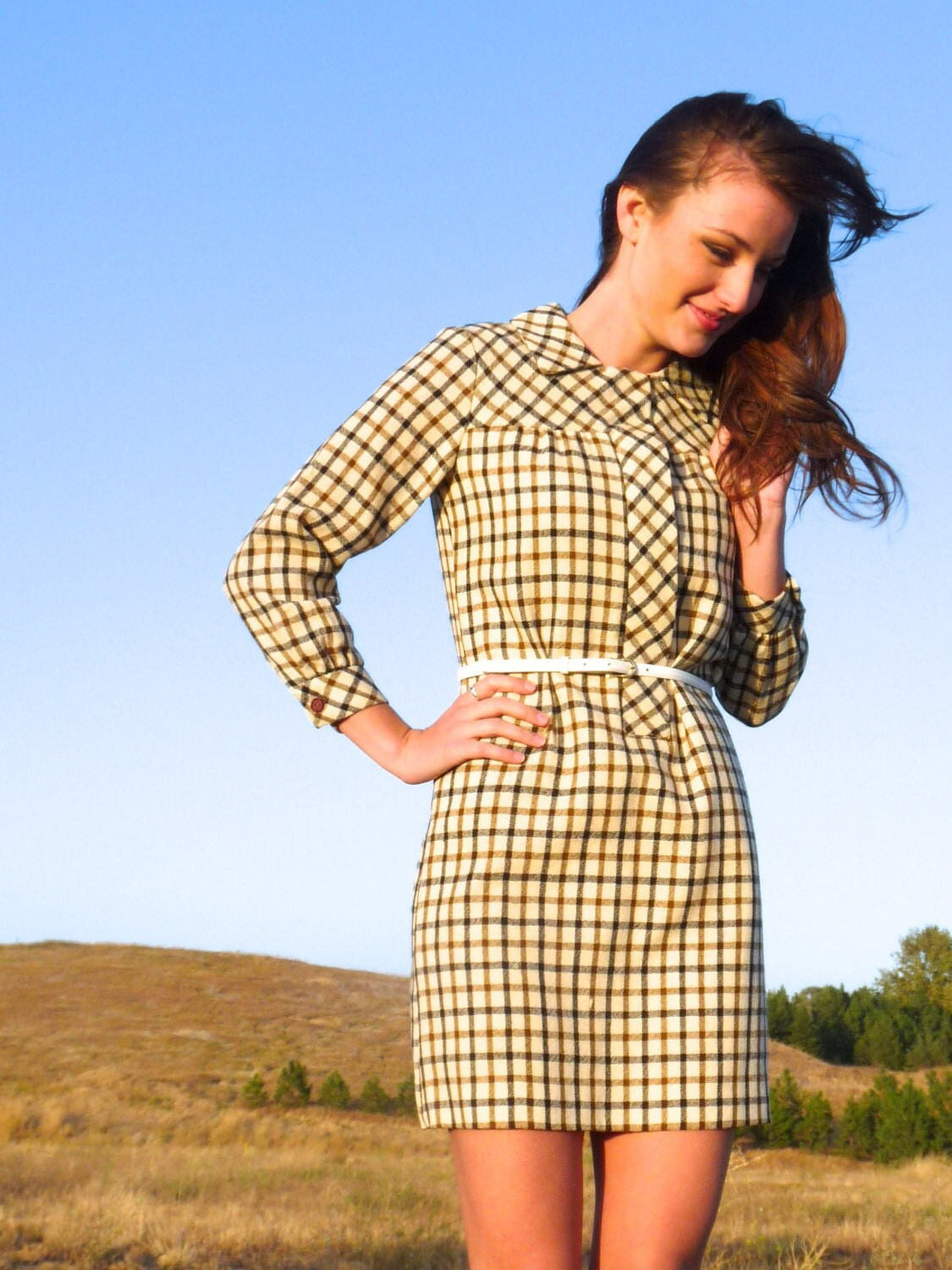 60s Tan Plaid Wool Collared Mini Shift Dress xs s