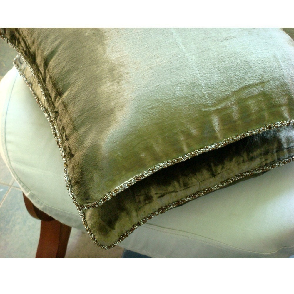 Olive Shimmer - Throw Pillow Cover - 16x16 Inches Velvet Pillow Cover in Olive Green