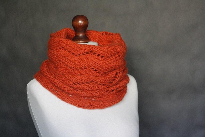 Orange knit cowl, knit scarf, round scarf, knit seamless, knit tube, knit neckwarmer, scarf wrap, knit wrap, chunky yarn cowl, cowl neck - KFbyMalgorzataDrozd