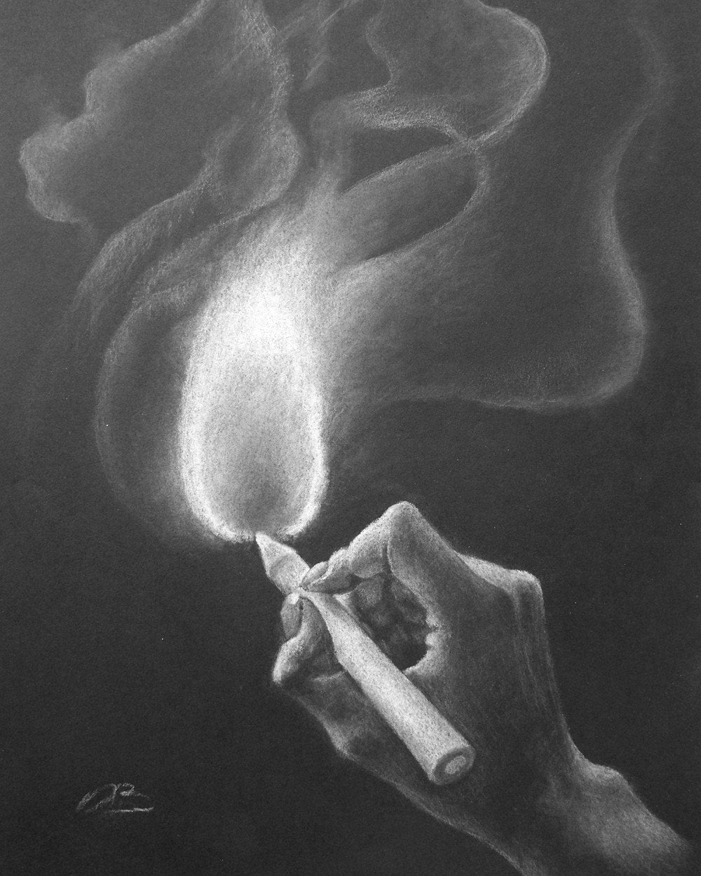 Black and white drawing print, hand, pencil, flame and smoke