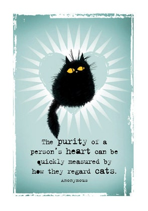 Purity Of Heart black cat greetings card - MADOLDCATLADY
