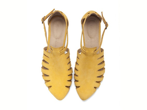 NEW ARRIVALS, Alice, Yellow shoes, Flats, Leather Sandals - TamarShalem